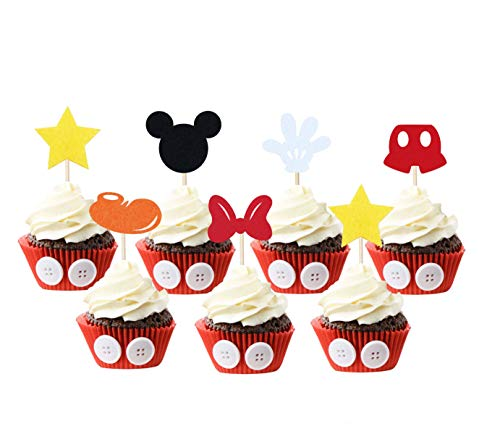 JAGGER M Mickey Mouse Inspired Cupcake Toppers (Set of 30) Kids Birthday Party Supplies Decorations Baby Shower -