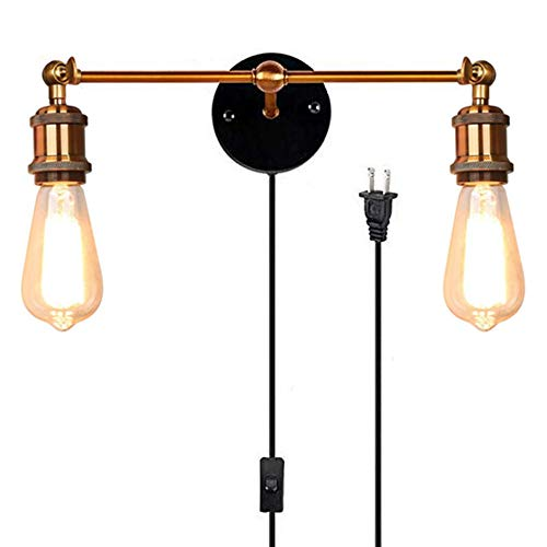 Kiven Occident Style Double Head Wall Sconces The Retro Copper Head Shops Decorative Wall Lamps,with Plug 1.8m Black Switch line Bulb Included (BD0239)