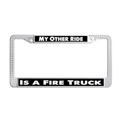 Hensonata Bling Shining White Rhinestone Stainless Steel License Plate Frames, My Other Ride is A Fire Truck Cute Waterproof Slim Design Metal Glitter Crystal Car Licenses Plate Covers