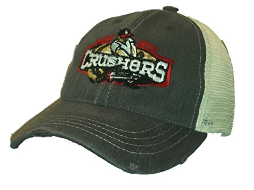 Lake Erie Crushers Retro Brand Gray Tweed Worn Vintage Adj Snap Mesh Hat Cap