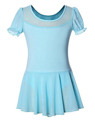 DANSHOW Girls' Skirted Leotard for Dance Ballet with Puff Sleeve and Tulle Neckline(6-8years, Light blue)