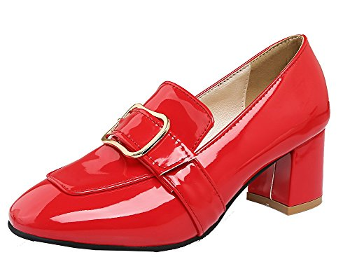 Heels Patent Leather WeiPoot Kitten Women's Shoes Closed Pumps Toe Red Square pOq4x7wxT