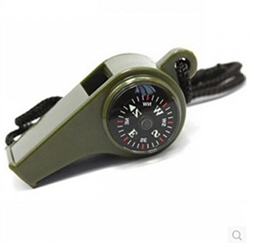 Whistle with Compass, Thermometer & Lanyard Hiking Camping Survival Aluminum Whistle Key Chain