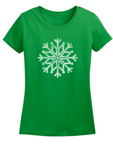 Ladies Distressed Snowflake Winter Holiday T-shirt