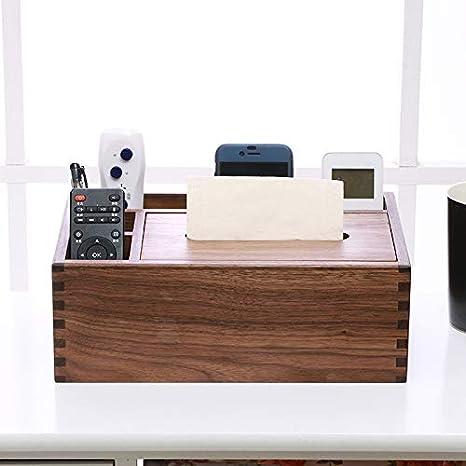 YHUJH Home Madera Maciza Creativa Sala de Estar Bandeja de cartón Muebles de Madera Nogal Negro Multifuncional Toalla de Papel Caja servilleta Caja: ...