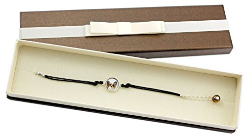 Art Dog Ltd. Papillon, Bracelet with Box for People who Love Dogs, Photo Jewelry, Handmade