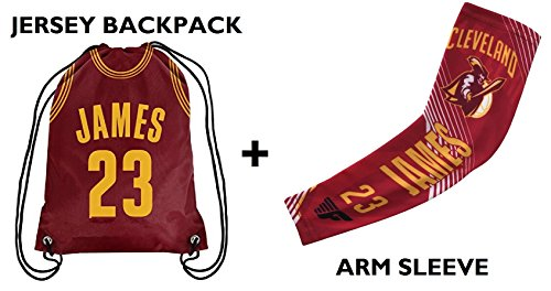 Forever Fanatics Cleveland James #23 Basketball Fan Gift Set ✓ James #23 Jersey Drawstring Backpack Gym Bag & Matching Compression Shooter Arm Sleeve (Youth Size (6-13 Years), James #23 Gift Set)