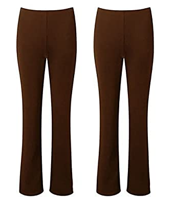 MISSY Ladies Stretch Trousers Pack of 2 Bootleg Stretch Ribbed Trousers  Black Size 8-26