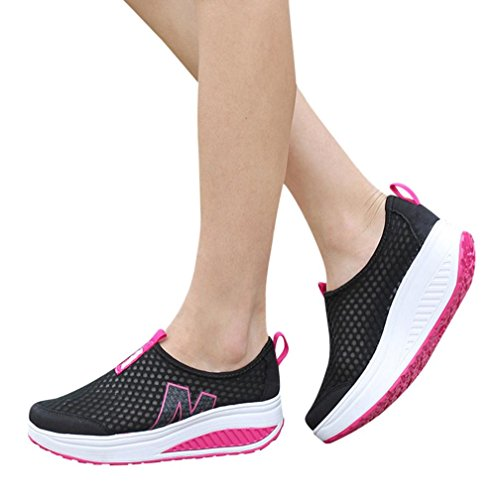 VEMOW Sandals for Women, Trainers Mary Janes Cute Lace-up Flats Flip Flops Thongs Espadrilles Running Walking Dance, Platform Loafers Breathable Air Mesh Swing Wedges Shoe Black