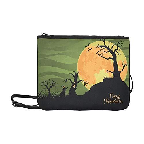 Creepy Halloween Trees Cat Jpg Custom High-grade Nylon Slim Clutch Bag Cross-body Bag Shoulder -