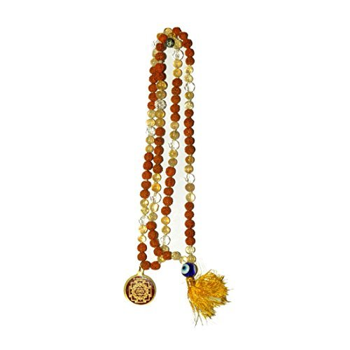 Odishabazaar Golden Topaz Rudraksha Mix Hand Knoted Japa Mala 108+1 Evil Eye Guru Bead with Swastik Pendant - Help to Calm Stress,irritability
