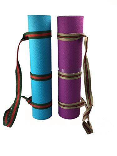 Yoga Mat Strap Sling Adjustable - Environmental Protection Polyester Durable Cotton With One More Strap (Grey & Red)