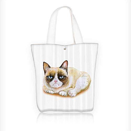 (Women's Canvas Tote Handbags mpy Siamese Cat Angry Paws Asian Kitten Moody Feline Fluffy Love Bathroom Casual Top Handle Bag Crossbody Shoulder Bag Purse W11xH11xD3)