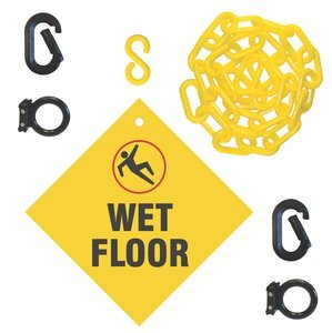 2'' x 144'' Yellow/Black Wet Sign Barricade System