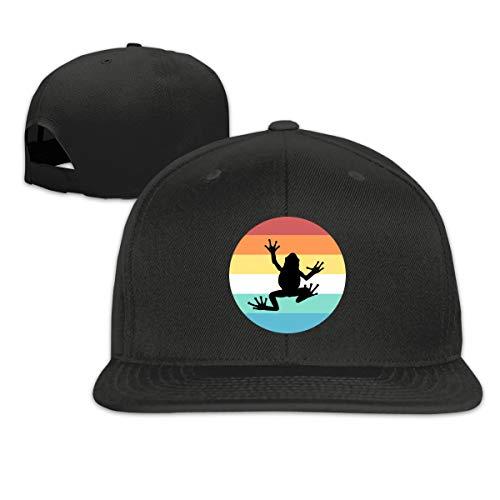 NINGFEI Black Cool Frog Trucker Hat Adjustable Men's Solid Flat Bill Baseball Caps