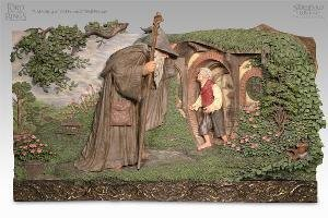 Lord of the Rings LOTR Gandalf and Bilbo Meeting of Old Friends Plaque Figure Statue Sideshow Collectibles Limited Edition ()