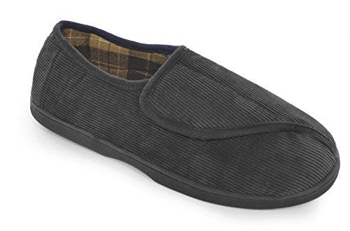 Socks Uwear SlumberzzZ Mens Easy Open Close Touch Full Back Style Microsuede Slippers Black XTzsx2