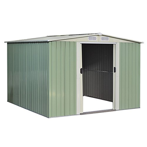 Goplus Galvanized Steel Outdoor Garden Storage Shed 8.5x 8.5Ft Heavy Duty Tool House W/ Sliding Door (Light Green) (Steel Galvanized Shed)