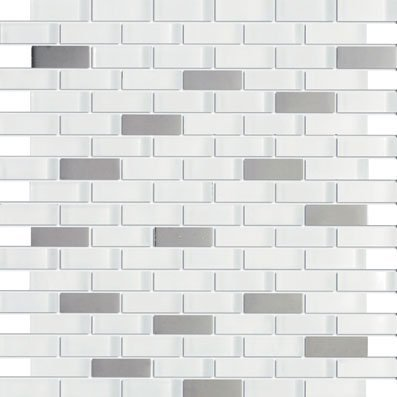 on sale Vintrav Daiquiri Ice Blend 5/8 in. x 1.875 in. Mesh-Mounted Stainless Steel & Glass Mosaic Tile