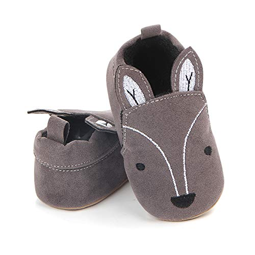 (Save Beautiful Cute Cartoon Infant Unisex Baby Warm Cotton Anti-Slip Soft Sole First Walkers Shoes (6-12 Months M US Infant, Gray Fox))