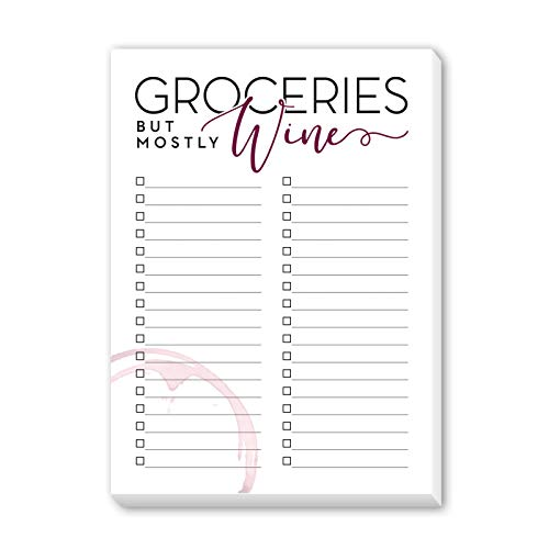 Grocery List Notepad for Wine Lover | Wine Gifts for Women | 5x7 inches | Made in the USA (Wine Grocery List)