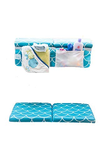 Baby Bath Kneeling Pad with Elbow Rest - Extra Long - Mermaid Design in Teal Blue - with Bonus Mesh Bath Toy Organizer - Wonderful Gift Set for Parents with a Infant, Toddler - by Fins + Tales (Image #8)