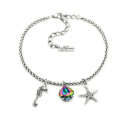 (BEACH PARTY 12mm Electra Cushion Cut Crystal Anklet Made With Swarovski Elements *Antique Silver *Karnas Design)