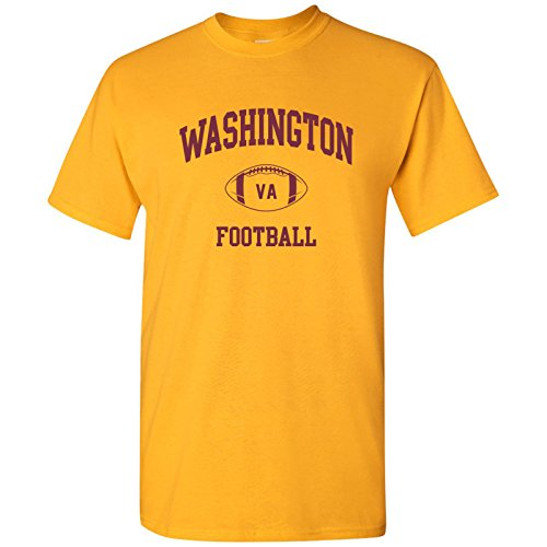Redskins Tee - Washington Classic Football Arch Basic Cotton T-Shirt - X-Large - Gold