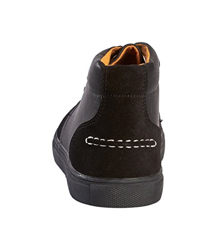 JOTW Mens Mid Top PU Leather Fashion Sneaker Black AatUfiShu