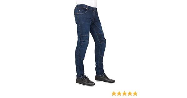 Pantalones vaqueros para hombre, corte ajustado, ideal para motocicleta, con protecciones y forro, color azul marino