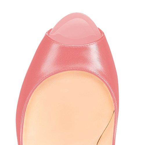 Fsj Women Graceful Peep Toe Pumps Tacchi Alti Con Plateau Slip On Party Prom Shoes Taglia 4-15 Us Salmon-matte