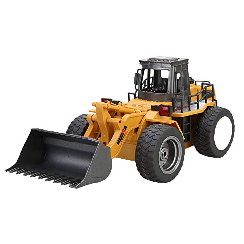 18th Yellow Scale - Volity 1:18 6CH Construction Excavator Truck Toy for Kids with Shovel Arm Claw RC Truck Bulldozer Tractor Remote Control Simulation Car Gift for Boys