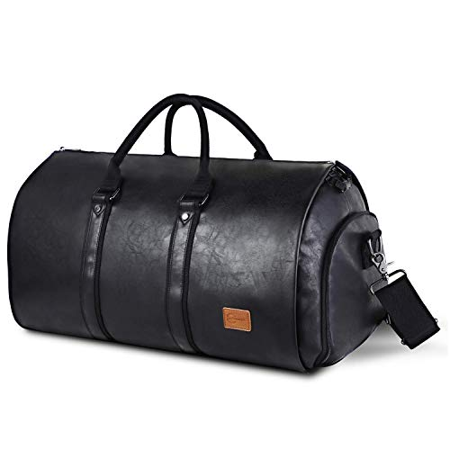 Carry On Garment Bag, Mens Garment Bag for Travel Business, Large Leather Duffel Bag with Shoe Compartment -Black (Best Leather Duffle Bag)