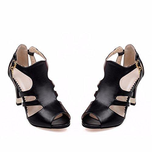 Schuhe Sommersandale toe Heel Temperament Fisch Mund Deko Sandalen Tau High weibliche black Metall q0Rqfw6