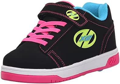 Heelys Dual Up X2 PU Sneaker (Little Kid/Big Kid), Black/Neon Multi, 1 M US Little Kid