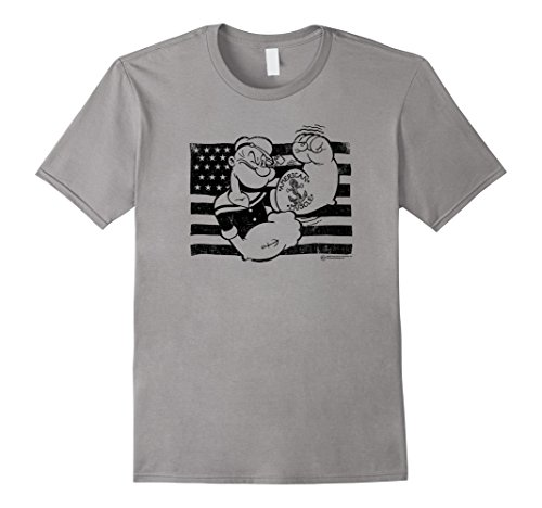 - Mens American Muscle Popeye T-Shirt | Classic Look #30033 XL Slate