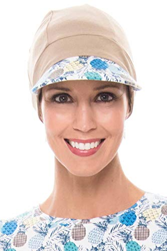 (Cardani Bamboo Baseball Cap - Caps for Women with Chemo Cancer Hair Loss French Beige w/Pina Colada)