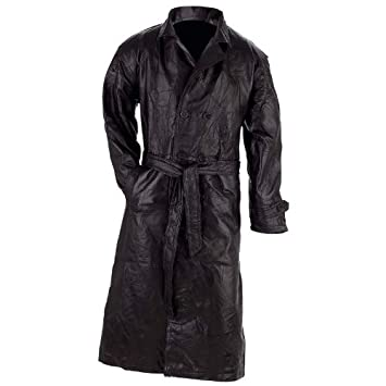 Amazon.com: Giovanni Navarre Leather Trench Coat, Black, M: Automotive