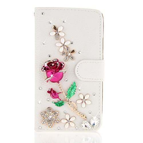For Huawei Ascend Mate 2 Case, Moonmini White 3D Fashion Handmade Bling Diamond PU Leather Flip Case Cover Wallet Card Holders for Huawei Ascend Mate 2 (Rose) (Huawei Ascend Mate 2 Wallet Case)