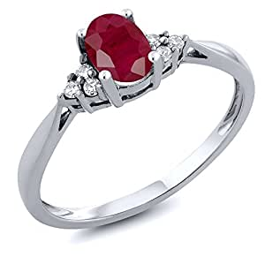 14K White Gold Red Ruby and Diamond Women's Ring 0.66 cttw, Available in size (5,6,7,8,9)