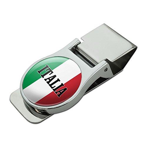 Metal Tuscany Mirror - Italia Italy Italian Flag Satin Chrome Plated Metal Money Clip