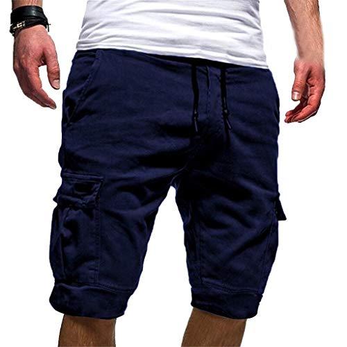 terbklf Men's Casual Shorts Summer Drawstring Elastic Waist Classic Fit Cargo Shorts Sweatpants for Men with Pockets Navy