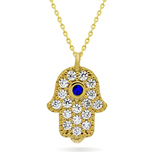 925 Sterling Silver Small Hamsa Necklace, 14 Gold over Solid Silver Hand of Fatima Necklace, Lucky Necklace, Evil Eye Protection Necklace