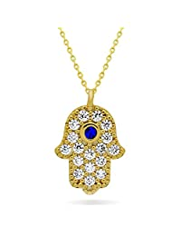 """925 Sterling Silver Small Hamsa Necklace 14K Gold Plated Hand of Fatima Necklace, Silver Hamsa Hand Necklace Hamsa Pendant Luck Necklace Evil Eye Protection Necklace 16inch Chain + 2"""" Ext w Clasp"""