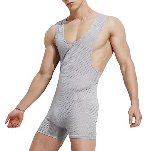 Reebok Mesh Polo Shirt - DEESEE(TM)Men's UnderwearsSexy Tank Tops Bodysuit Nightwear Jumpsuits Shorts (L, Gray)