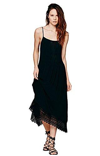 Ca modo mujeres verano playa cóctel Prom Fiesta en el jardín Slip vestido - negro -