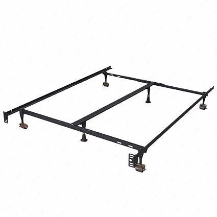 Amazon.com: DFM Size Adjustable Metal Bed Frame with Center Support ...