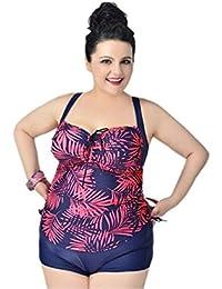 Women's Plus-Size Swimsuit Retro Floral Print Open Back...