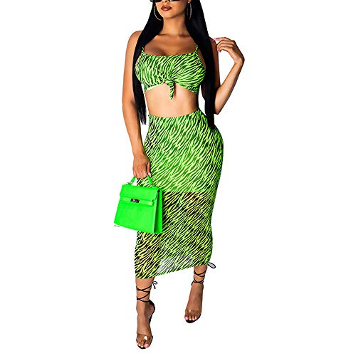 - Womens Sexy Two Piece Outfits Skirt Set Print Mesh Bandage Tanks Crop Top and Midi Dresses Green