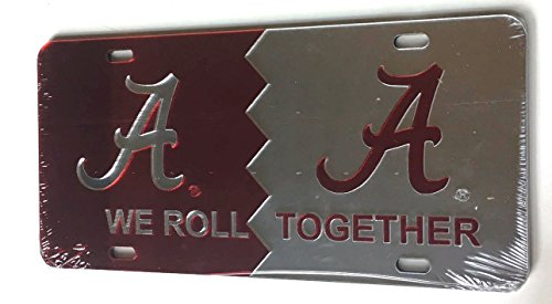Alabama Crimson Tide We Roll Together Mirrored License Plate - BAMA Car Tag
